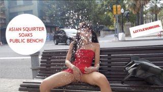 Littlesubgirl - Asian Squirter Soaks Public Bench