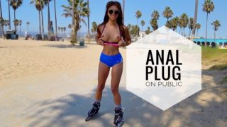 Ayumi Anime - Anal Plug And Cum On Public Venice Beach