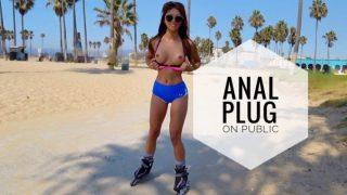 Ayumi Anime - Anal Plug And Cum On Public Venice Beach
